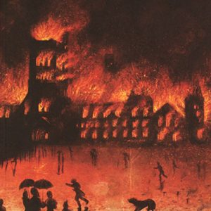 Painting of University College Building on fire