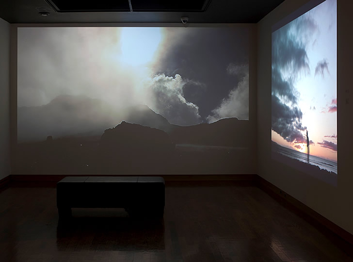 """Installation view of University of Toronto MVS Programme Graduating Exhibition, 2014. Brendan George Ko, House of the Sun, 2013. HD, looped. 8:54 min.  Image credit: Toni Hafkenscheid"""