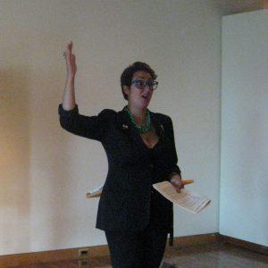 Nadja Sayej lecturing