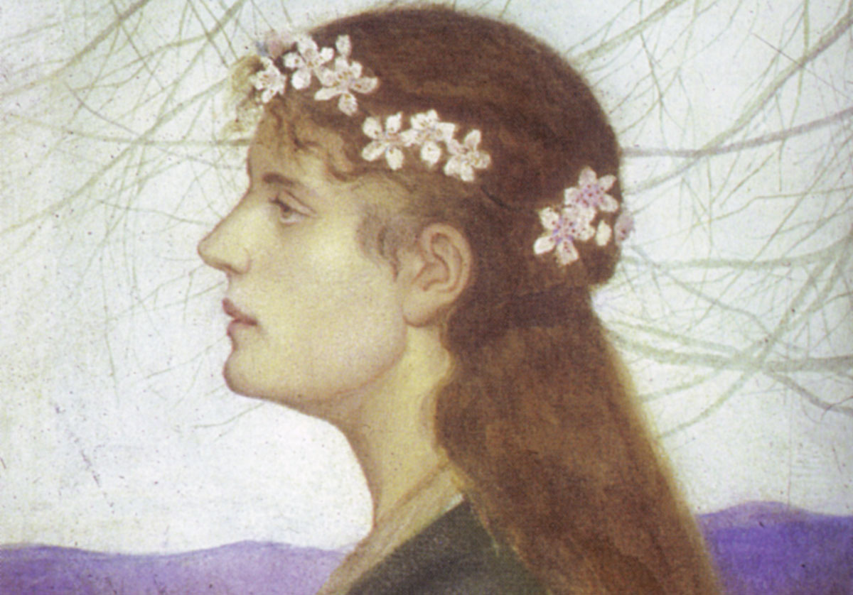 Painting of woman wearing flower crown