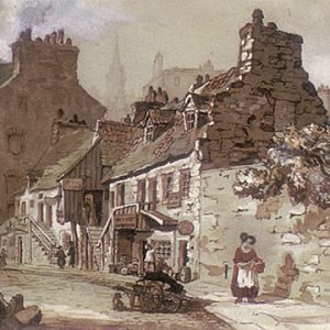 """Sir Daniel Wilson, Low Calton, Edinburgh, 1840-1850s. Watercolour on paper. 19 x 26 cm"""