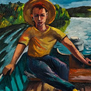Painting of boy in hat in boat