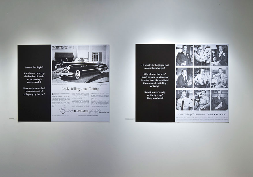 Two newspaper clippings about McLuhan installed in gallery
