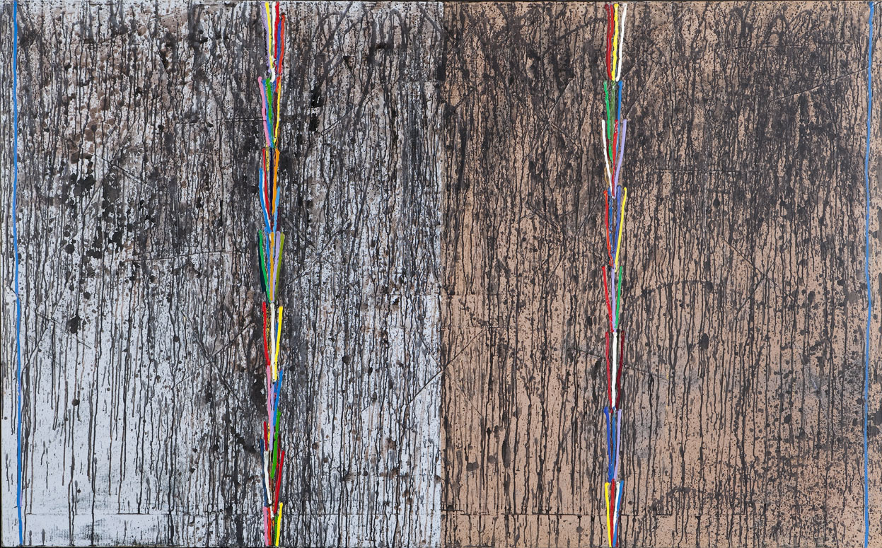 Painting of multicolored lines over black paint drips