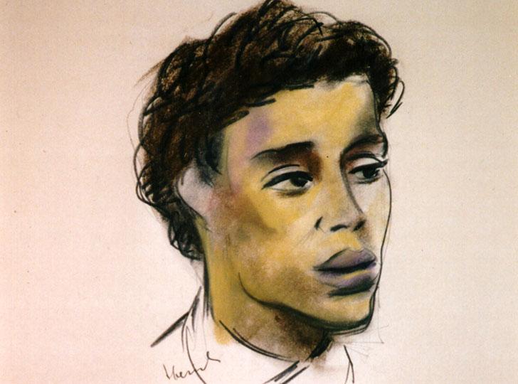 Pastel drawing of man