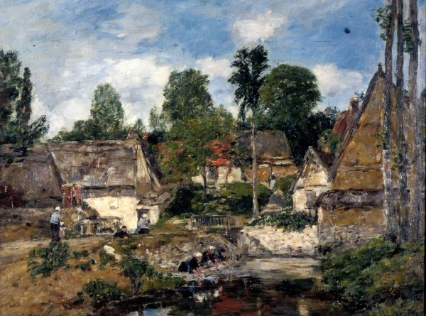 """Eugène-Louis Boudin, Paysage á Oisème (detail), oil on canvas, 1893. Malcove Collection"""