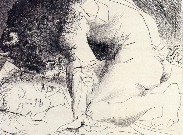 """Pablo Picasso, Minotaur Kneeling Over Sleeping Girl, 1933. Etching and scraper on paper. 30 x 37 cm"""