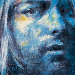 Up close blue portrait of woman