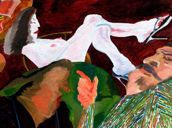 """Robert Markle, Conversation series: Gordon Rayner, 1988. Acrylic on paper, 75 x 110 cm"""