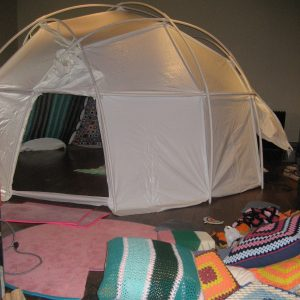 """Installation view of DISKO sauna YURT> at Scotia Bank Nuit Blanche, Instant Coffee. 2006"""