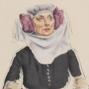 """""""Grant Kenneth Macdonald, Dame Sybil Thorndike as Mistress Quickly in King Henry IV, 1946. Ink and watercolour on paper. Agnes Etherington Art Centre, Queen's University, Kingston. Gift of the McLean Foundation, 1990"""""""
