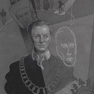 """Grant Macdonald, John Gielgud as Hamlet, 1940. Graphite, watercolour, gouache on grey paper. Agnes Etherington Art Centre, Queen's University, Kingston. Gift in memory of Robertson Davies, 1996"""