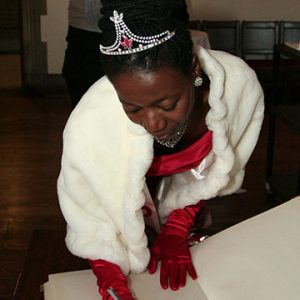 Camille Turner in fancy attire with tiara