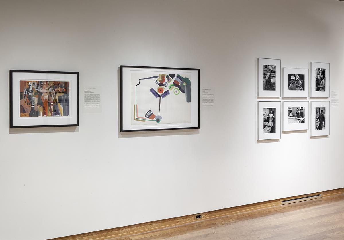 Three sets of framed images