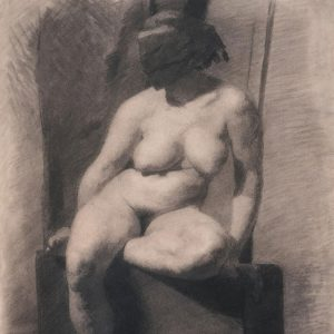 """Thomas Eakins, Nude Woman with a mask, Seated, from the front, c. 1873-1875. Yale University Library Visual Resources Collection accession number M5020_0013_007"""