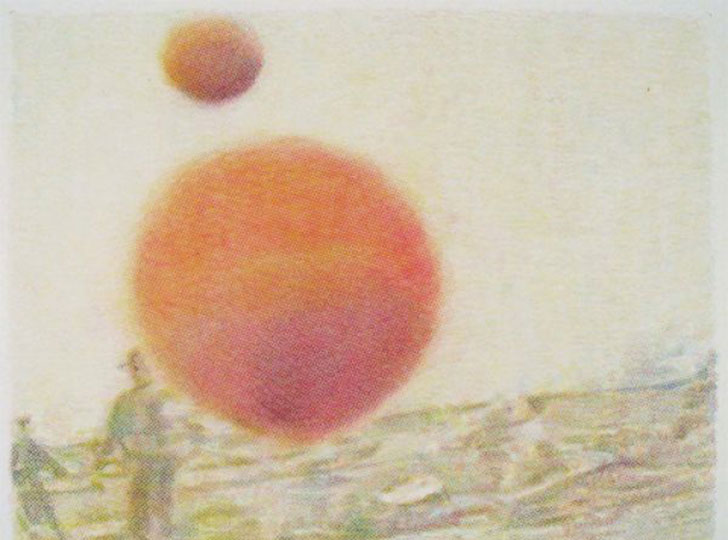 """ Stephen Andrews, Friendly Fire, ( A BBC cameraman also received minor injuries but continued filming with his blood dripping on the lens), crayon rubbing on parchment paper, 48cm X 60cm, 2003"""