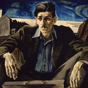 oil painting of a man hunched starring out with a dark-blue sky