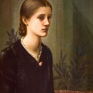 """Sir Edward Burne-Jones, Portrait of Caroline Fitzgerald, 1884. Oil on canvas. 83 x 51 cm. Gift of Mrs. Augustine Fitzgerald, 1932"""