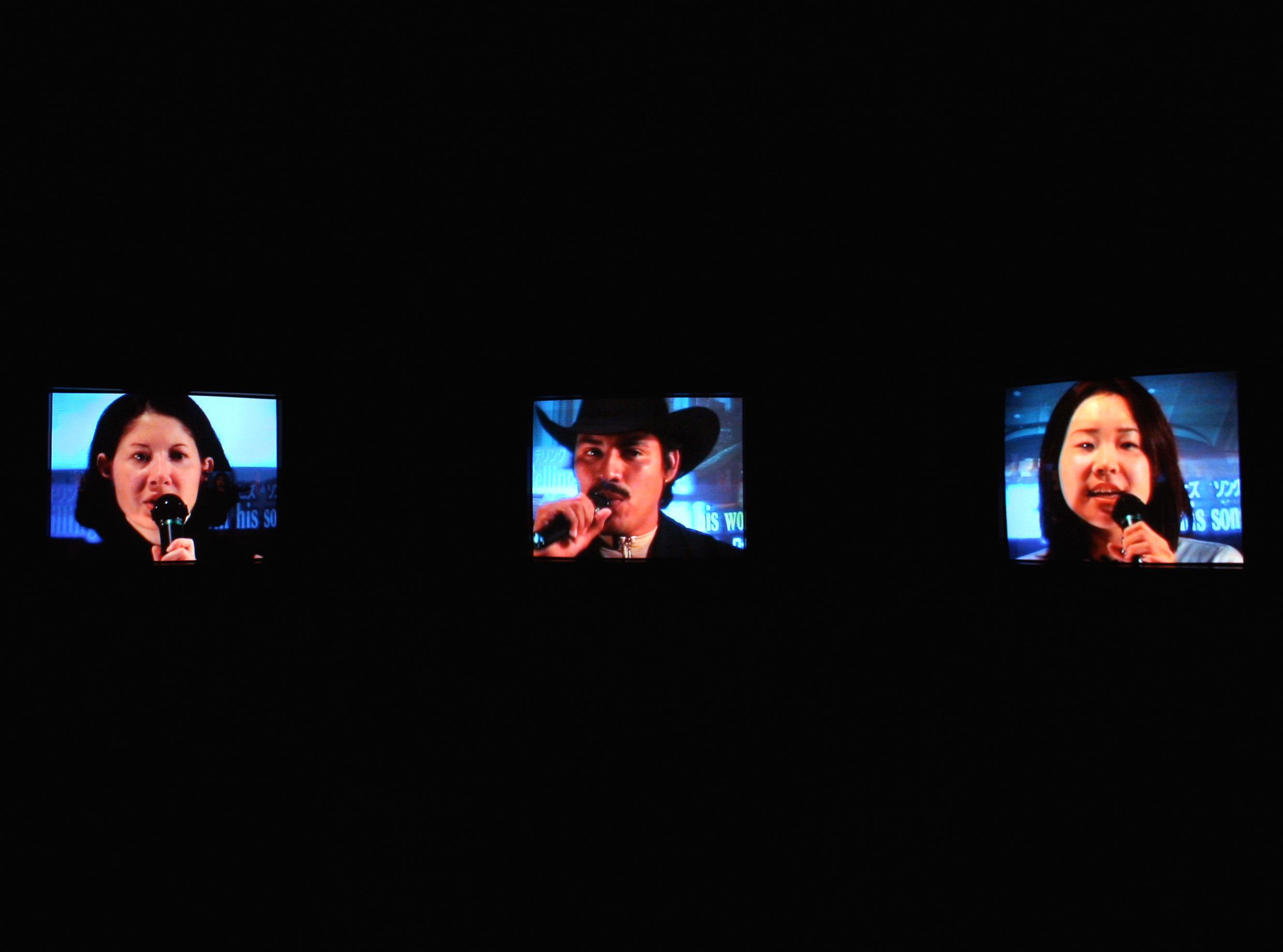 """Candice Breitz, Karaoke, 2008. Multi-channel video installation"""