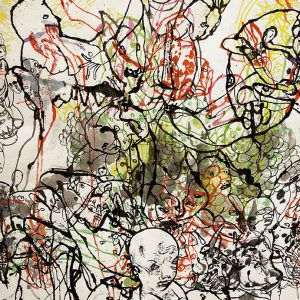 Abstract drawing of people through paint drips