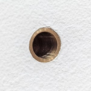 Door peephole up close