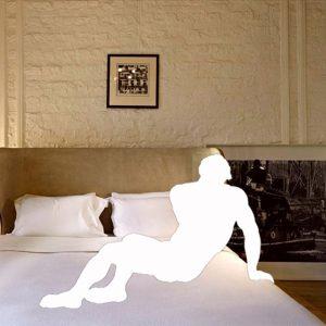 """Julius Poncelet Manapul, Queer Narratives Series: googled interior & classical artworks #1, 2013. Mixed-media installation. Dimensions variable. Installation view of University of Toronto MVS Programme Graduating Exhibition, 2013"""