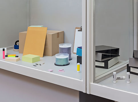 Office supplies in display boxes