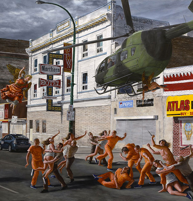 street scene of people running and on the ground, most wearing orange jumpsuits with a helicopter flying over them.