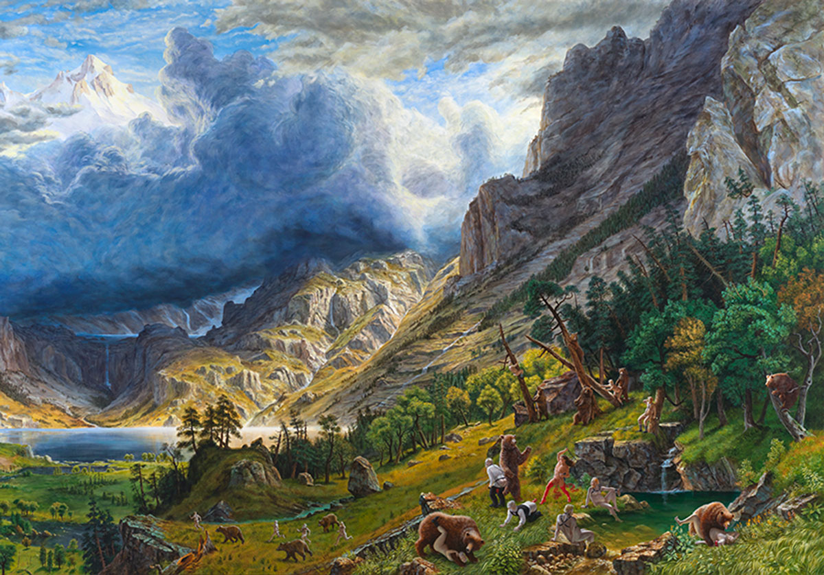 Landscape painting with bears and humans fighting