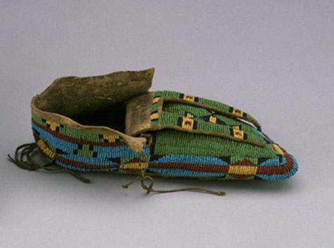 Rawhide Moccasin with colored glass beads