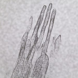 Aluminum drawing of abstract hand