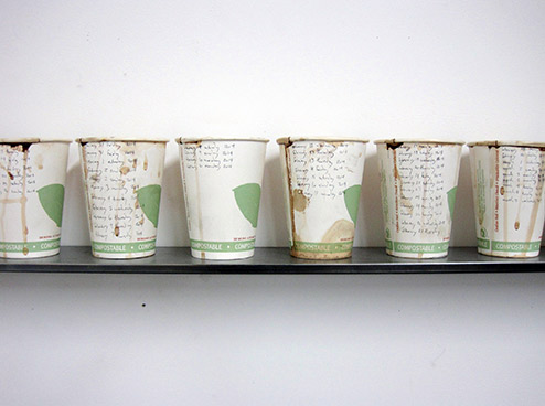 6 used coffee cups of 100 displayed