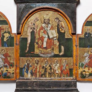 Painted tryptich with religious imagery and saints
