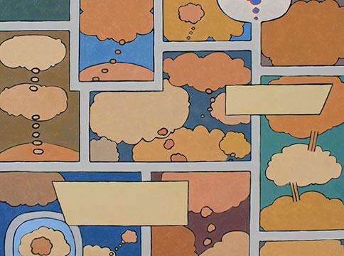 Pattern of speech bubbles in comic style