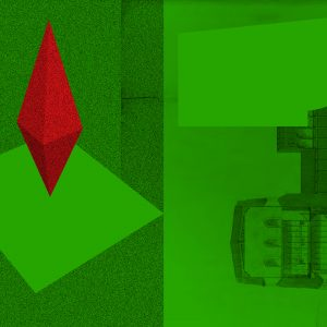 3D red diamond on background of green building blueprint