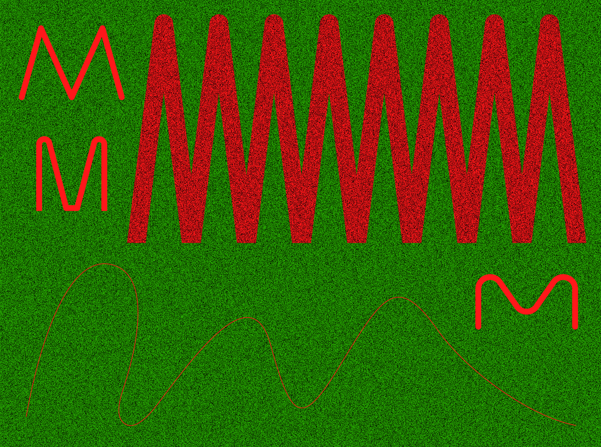 Red zig-zag pattern on green background