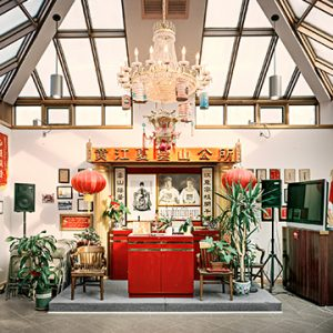 Chinese ancestral altar room in Chinatown