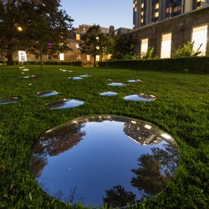 Circular mirrors scattered across green field