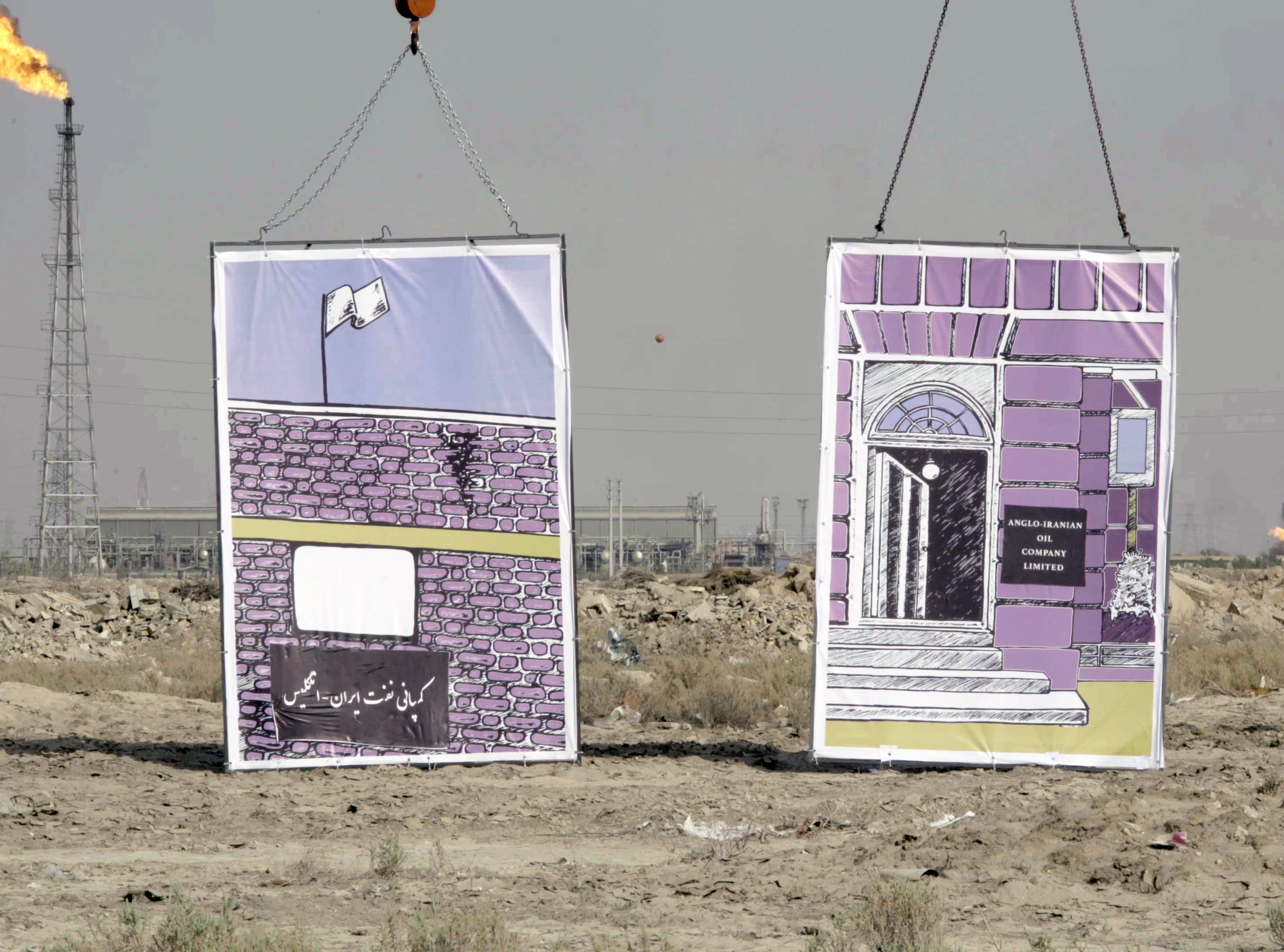 Installation view of construction site with two building illustrations held by chains