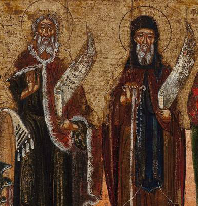 Close up of byzantine style painting of four priests