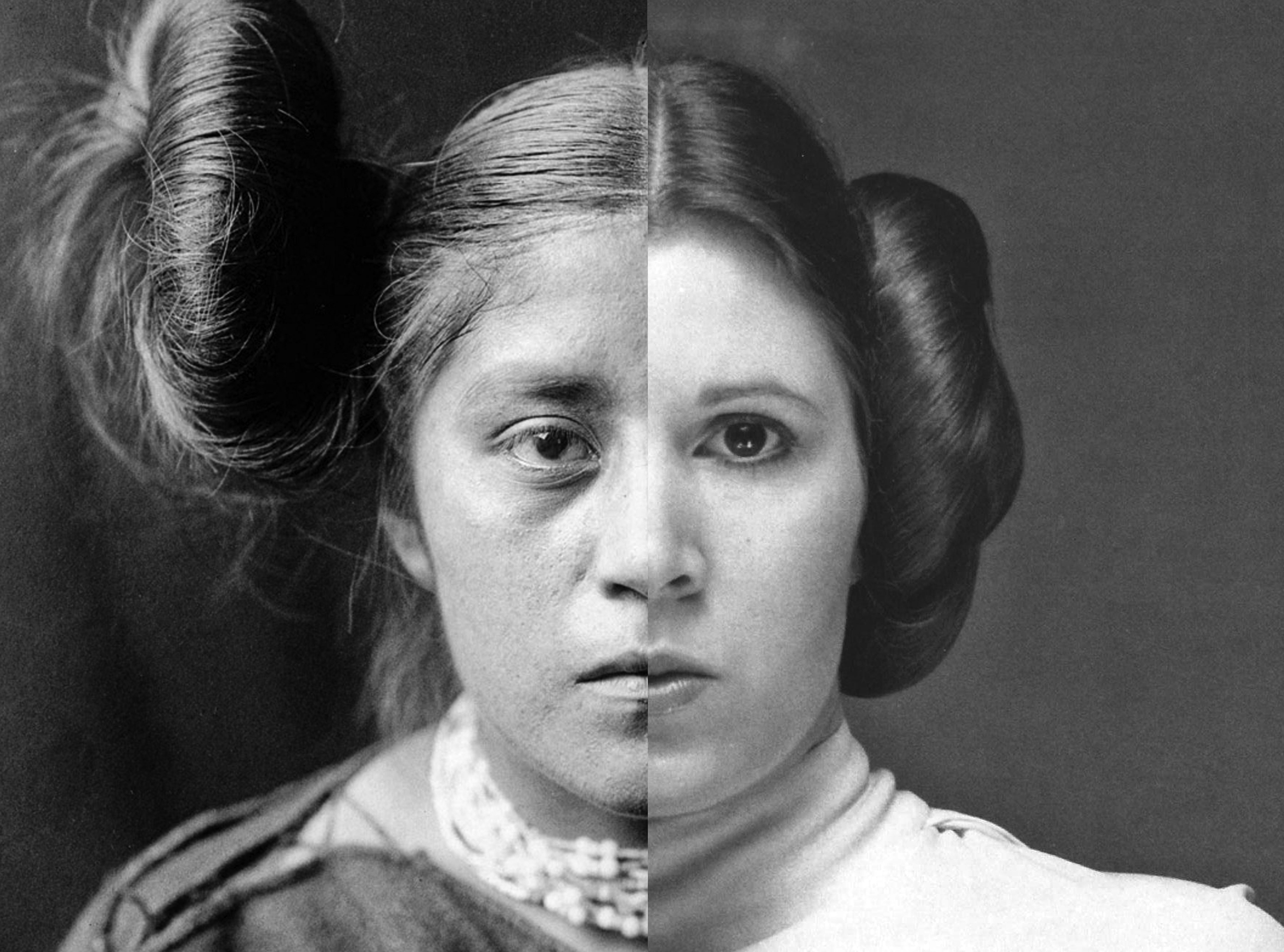 black and white portrait of two women split down the middle and connected into one