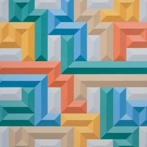 multicoloured geometric shaped patter on a wall