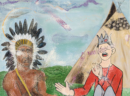 oil on canvas painting with a man wearing a feather headdress on the left, and a man wearing a crown sitting in-front of a tent on the right.
