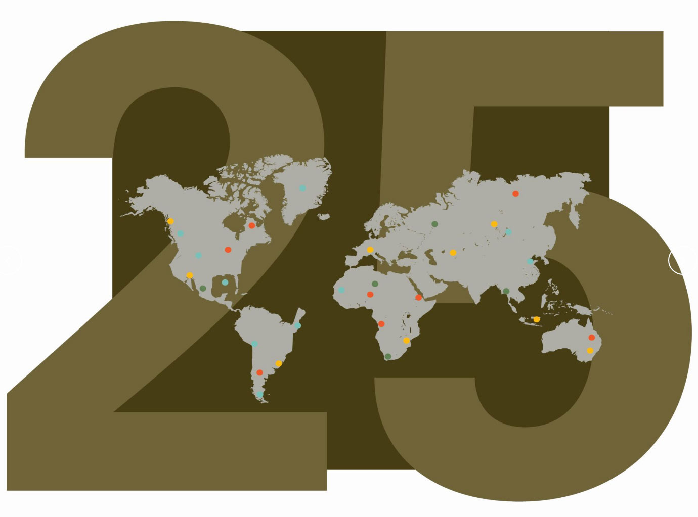 olive green 2 5 behind a small image of a grey world map