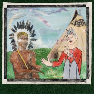oil on canvas painting with a man wearing a feather headdress on the left and a man wearing a crown sitting in-front of a tent