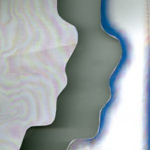 abstract image of a grey squiggle against a swirly pink background on the left side