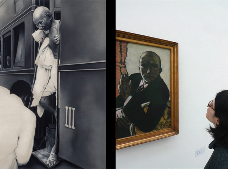 person black and white photograph of a person stepping off a train in a white robe on the left and on the right a person staring at a painting on a wall