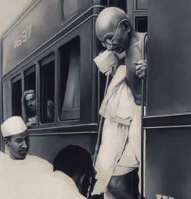 Atul Dodiya, Alighting from the train, New Delhi, 1940s, 2013.