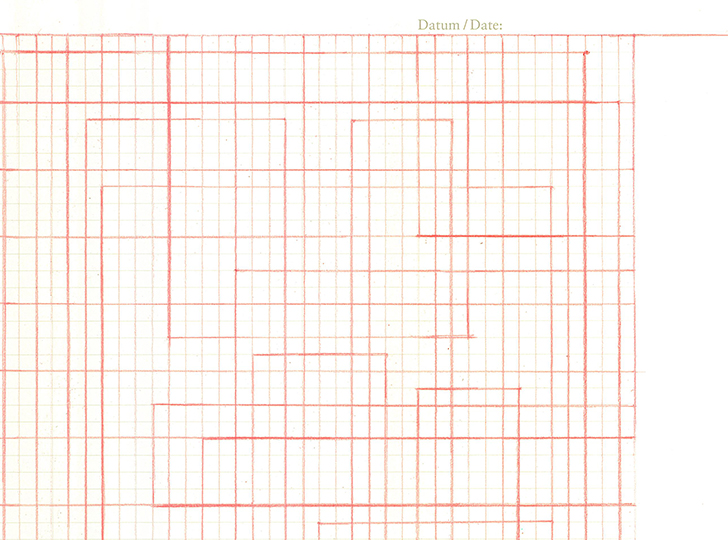 abstract orange and red line design on graph paper