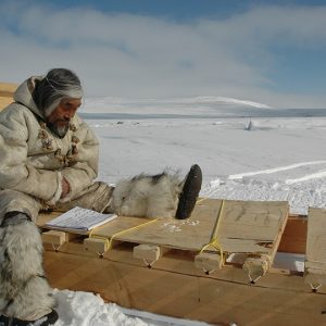 Man in fur outfit on tundra reading